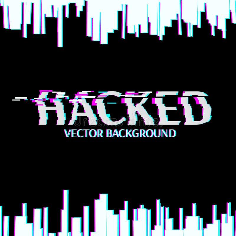 hackat Glitched digital abstrakt bakgrund royaltyfri illustrationer