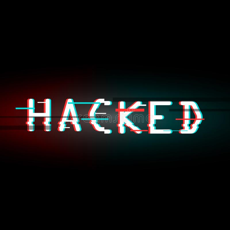 hackat Glitched digital abstrakt bakgrund Vektorillustrati royaltyfri illustrationer