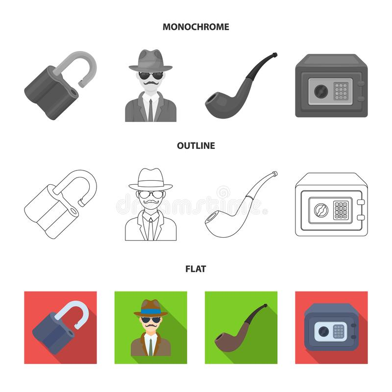 Hackat lås, kassaskåp som röker röret, privat kriminalare Fastställda samlingssymboler för kriminalare i lägenheten, översikt, mo royaltyfri illustrationer
