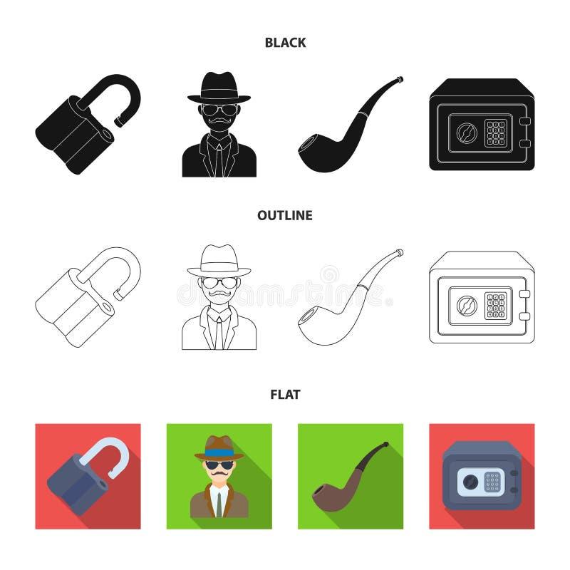 Hackat lås, kassaskåp som röker röret, privat kriminalare Fastställda samlingssymboler för kriminalare i materiel för symbol för  royaltyfri illustrationer