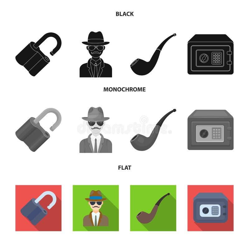 Hackat lås, kassaskåp som röker röret, privat kriminalare Fastställda samlingssymboler för kriminalare i svart, lägenhet, monokro vektor illustrationer