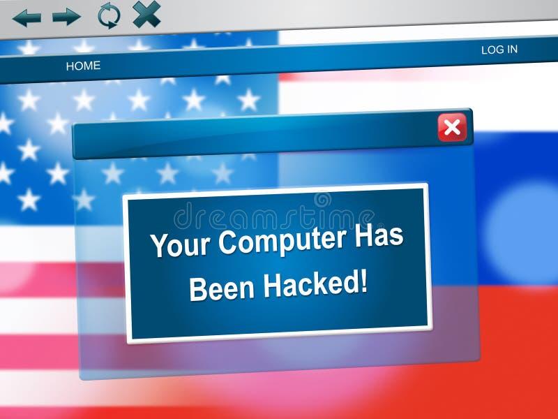 Hackat Popup meddelande för dator på illustration för bärbar datordator 3d vektor illustrationer