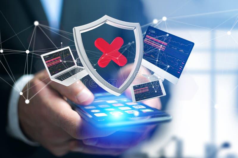 Hackat sköldsymbol som omges av apparater, och visat nätverk arkivfoton