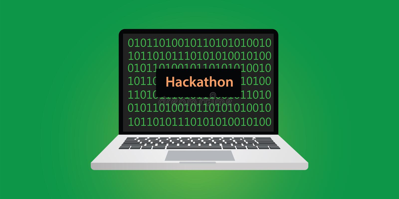 Hackathon与膝上型计算机和文本的概念例证在有二进制编码的屏幕上 皇族释放例证