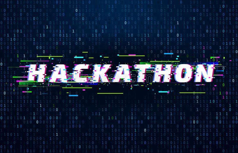 Hackathon background. Hack marathon coding event, glitch poster and saturated binary data code flux vector background vector illustration