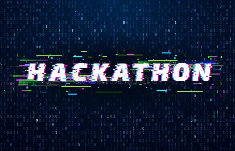 Hackathon bakgrund Hackamaraton som kodifierar händelse, tekniskt felaffischen och genomdränkt bakgrund för vektor för högvatten  vektor illustrationer