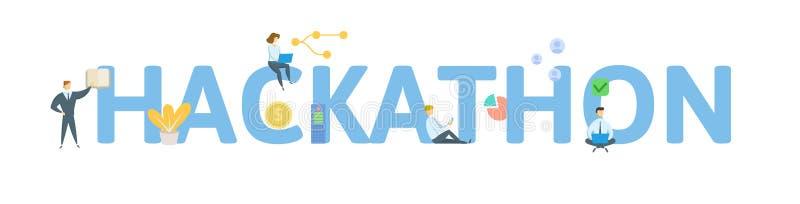 Hackathon Begrepp med folk, bokstäver och symboler Plan vektorillustration bakgrund isolerad white stock illustrationer