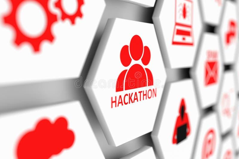 Hackathon concept. Cell blurred background 3d illustration royalty free illustration