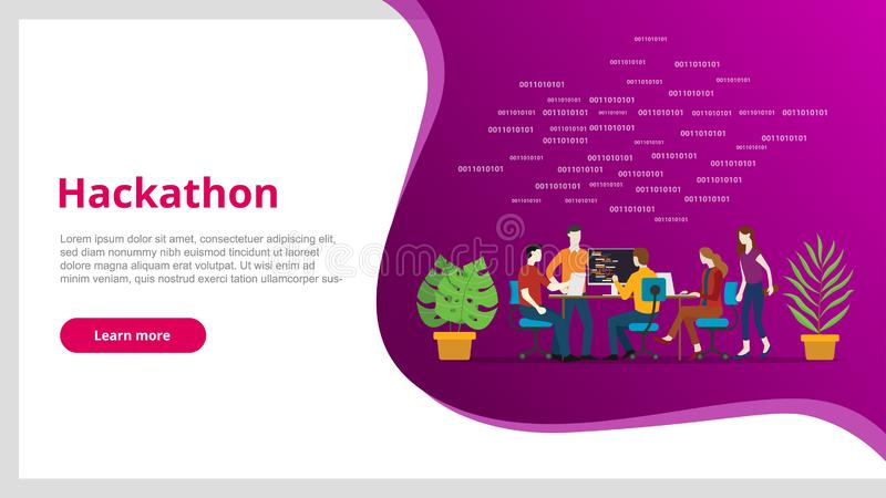 Hackathon concept team programming for website template banner design - vector illustration vector illustration
