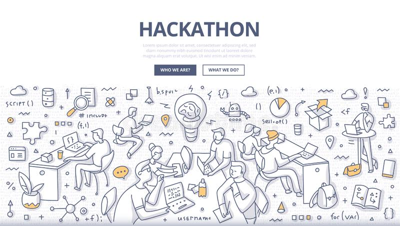 Hackathon Doodle Concept. Team of programmers, web developers, designers, project managers collaborate working on software project objectives. Hackathon event stock illustration