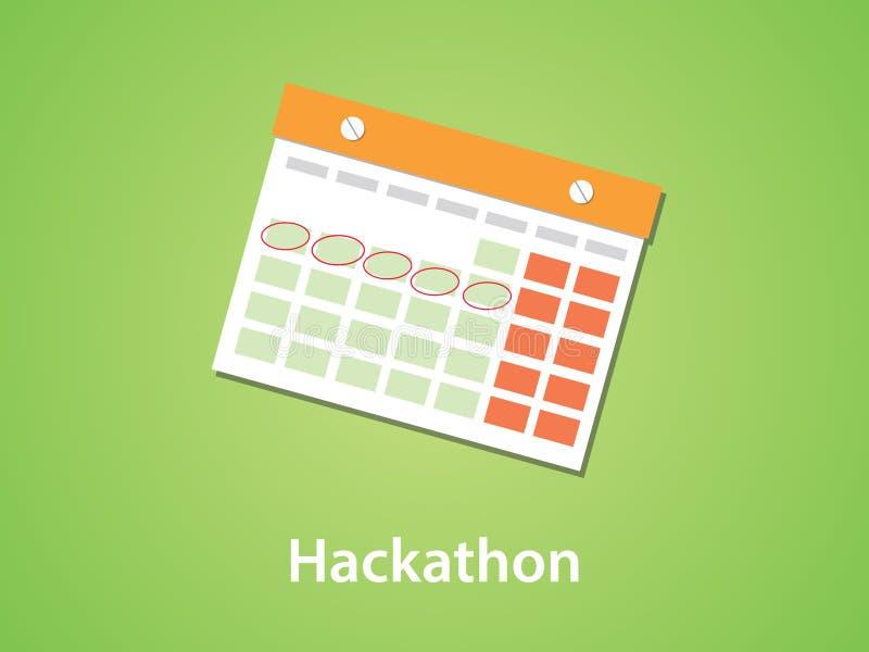 Hackathon ikony symbolu ilustracja z kalendarzem i ocechowanie z zielonym tłem ilustracja wektor