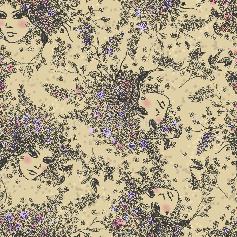 Hackberry-κορίτσι Διανυσματικό άνευ ραφής σκιαγραφημένο υπόβαθρο απεικόνιση αποθεμάτων