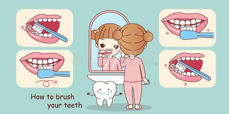 Hacke, zum Ihrer Zähne zu putzen stock abbildung