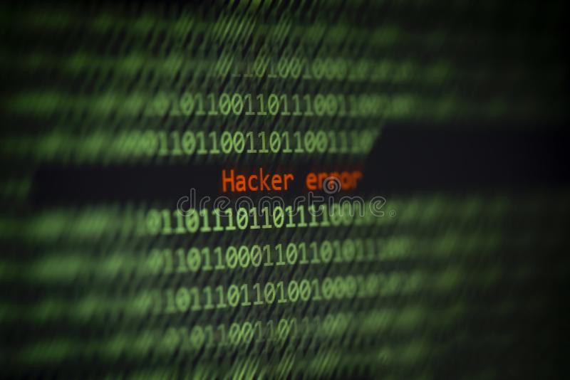 Hacked computer technology binary code number data alert ! Hacker error on display screen stock images