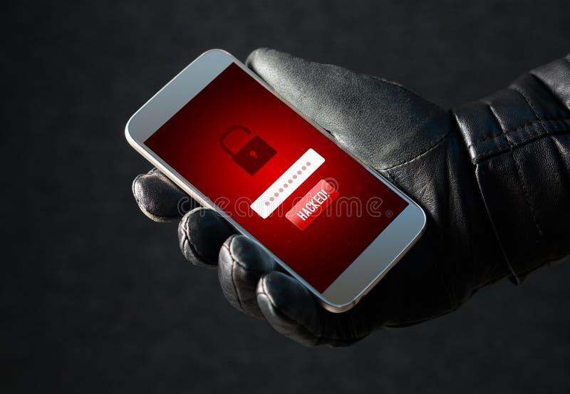 hacked Cyberveiligheid en online fraudeconcept stock fotografie