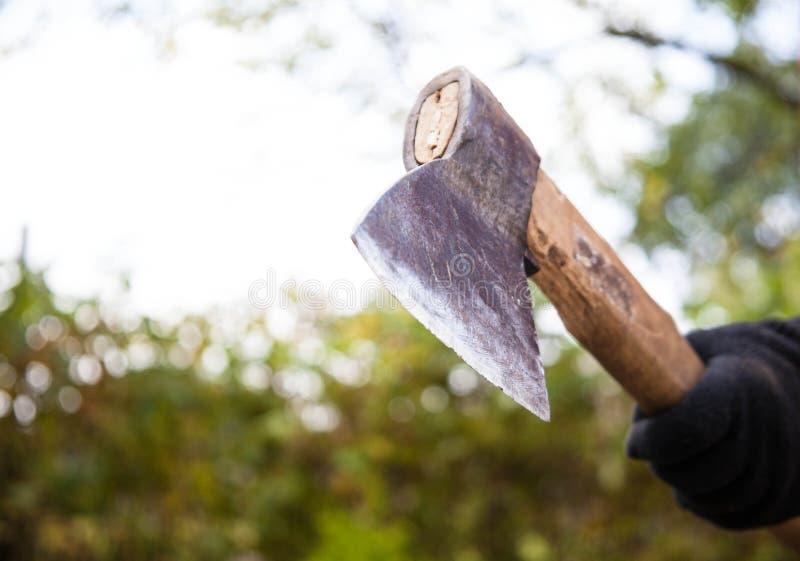Hacken des Brennholzes lizenzfreies stockbild