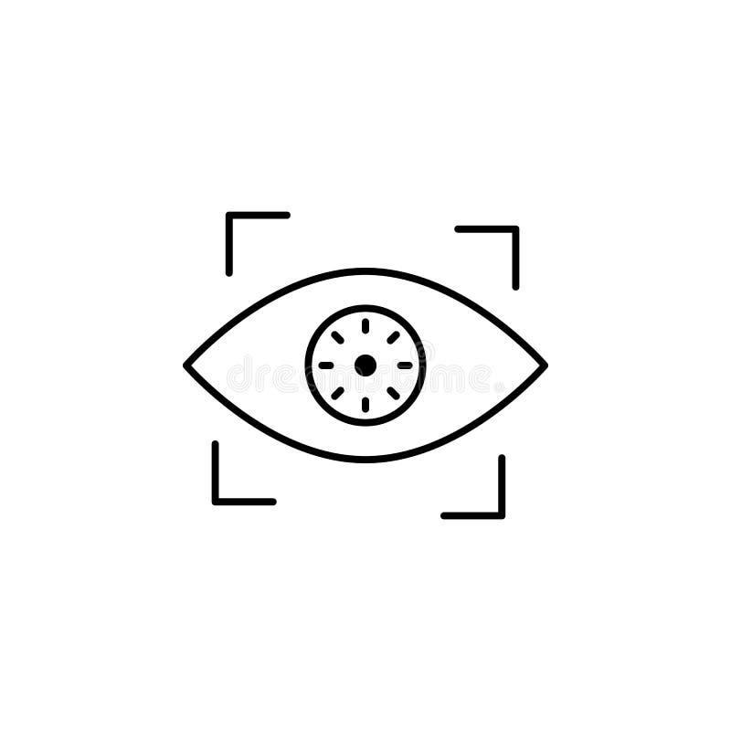 Hacker, ícone biométrico do reconhecimento no fundo branco Pode ser usado para a Web, logotipo, app móvel, UI UX ilustração do vetor