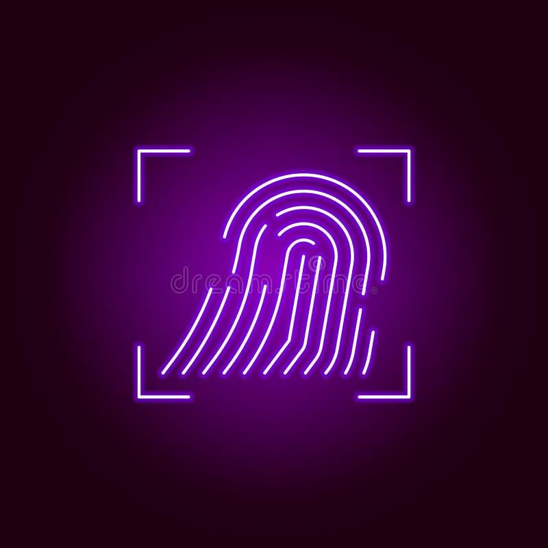 Hacker, ícone da impressão digital no estilo de néon Pode ser usado para a Web, logotipo, app m?vel, UI, UX ilustração do vetor