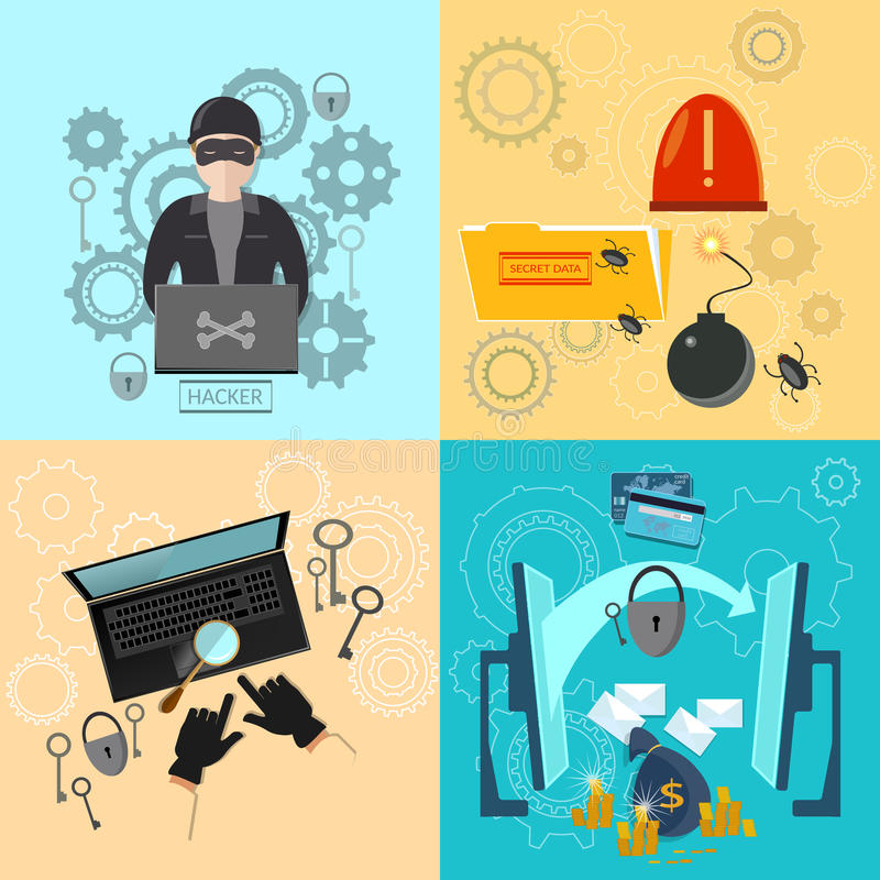 Hacker activity computer bank account hacking vector illustration
