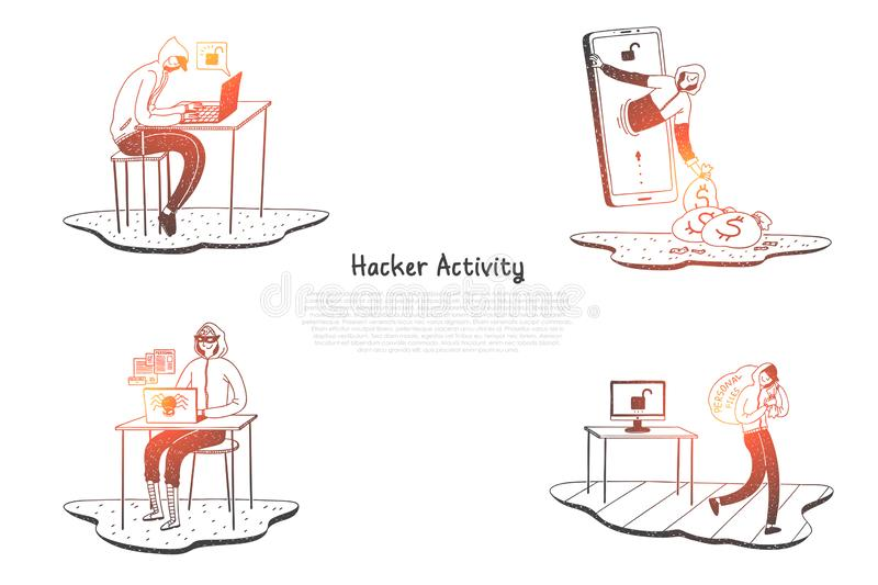 Hacker activity - hackers trying to destroy digital systems and get information vector concept set stock illustration