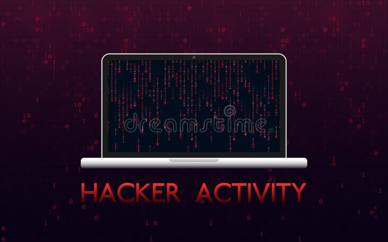 Hacker aktywności pojęcie Siekający laptop na czerwonym binarnym tle Malware projekt z matrycowym tłem Minować royalty ilustracja
