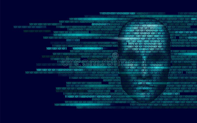 Hacker artificial intelligence robot danger dark face. Cyborg binary code head shadow online hack alert personal data vector illustration