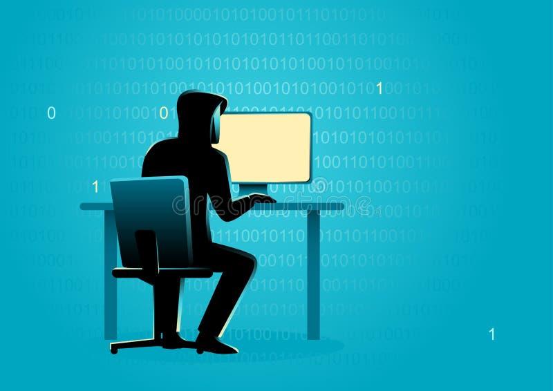 Hacker atrás do computador de secretária ilustração royalty free