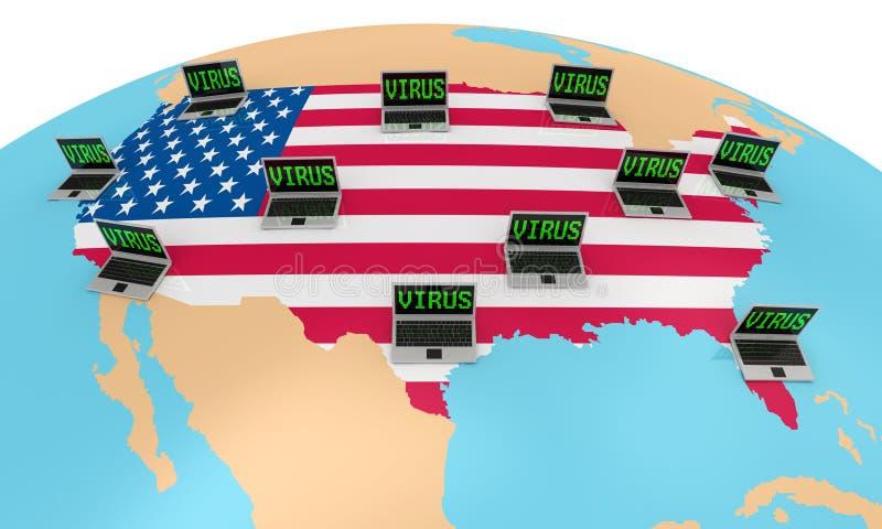 Hacker attack on USA royalty free illustration