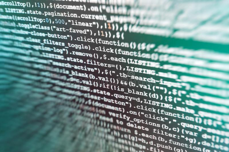 Hacker background. Java Software engineer concept. React HTML, native concept on LCD. Web design business working time. Mobile stock image