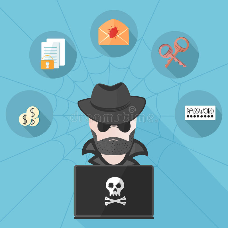 A hacker behind a computer in a flat style vector illustration