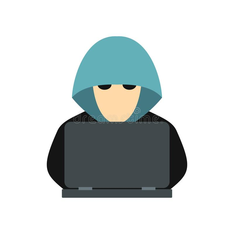 Hacker behind a computer icon, flat style stock illustration