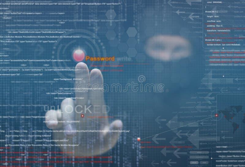 Hacker bei der Arbeit stockfoto