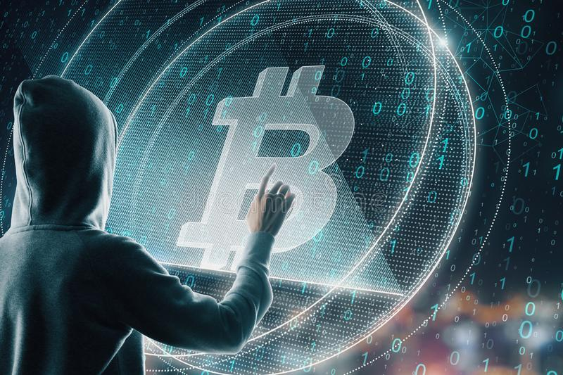 Hacker with bitcoin royalty free illustration