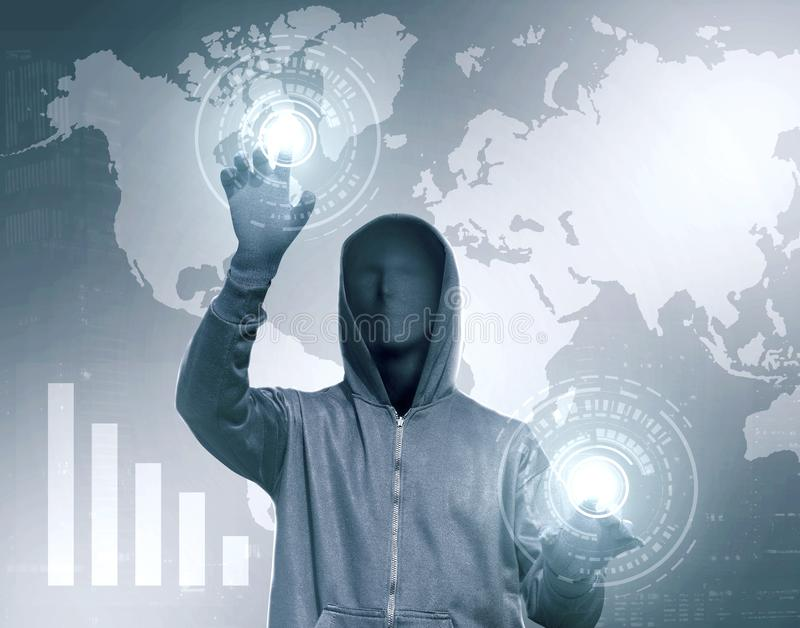 Hacker in black hoodie touching virtual screen with chart bar stock illustration