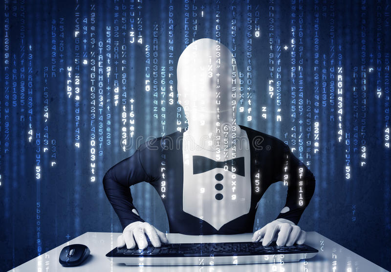 Download Hacker In Body Mask Decoding Information From Futuristic Network Stock Photo - Image: 38305176
