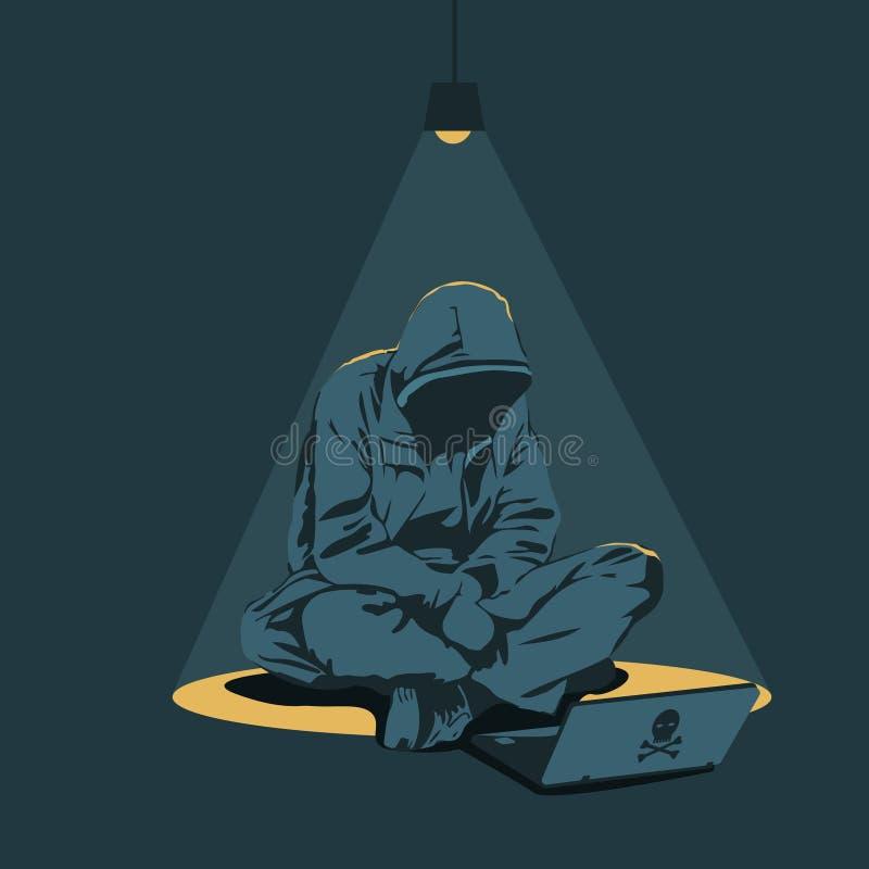 Hacker bricht in Computer ein stock abbildung