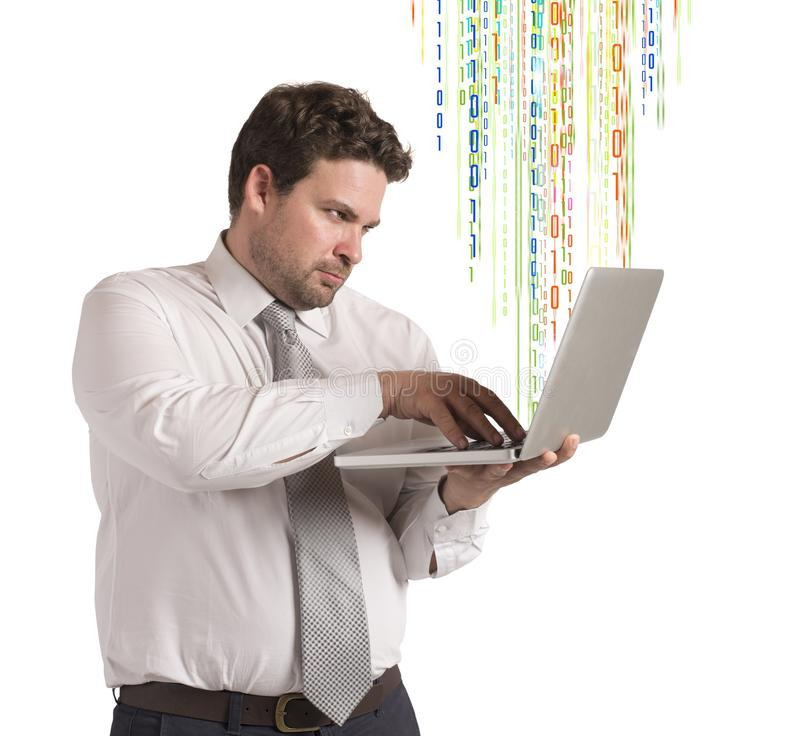 Hacker businessman royalty free stock photo