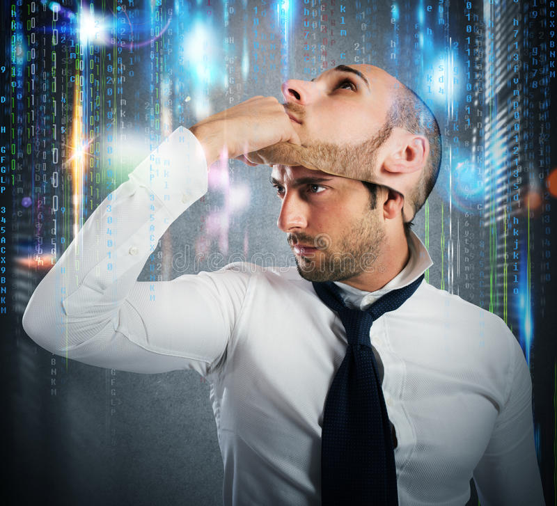 Hacker changes identity stock image
