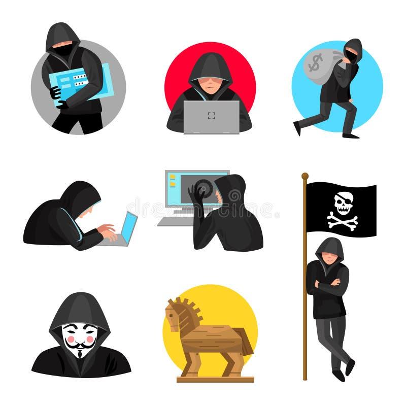 Hacker-Charakter-Symbol-Ikonen-Sammlung lizenzfreie abbildung