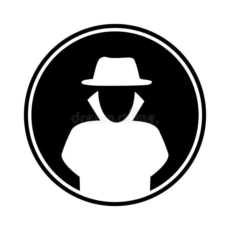 Hacker circular, liso em um revestimento de trincheira e ícone branco da silhueta do chapéu ilustração royalty free