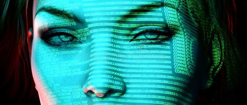 Hacker. Computer display lighting a womans face vector illustration