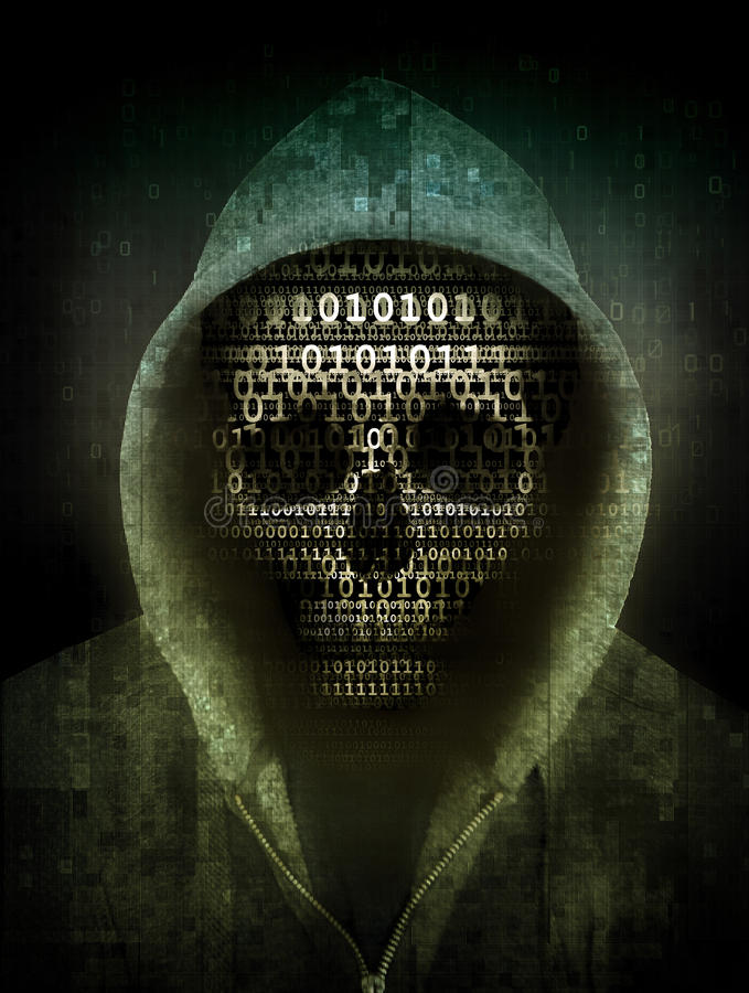 Hacker concept. Skull hacker concept abstract illustration royalty free illustration