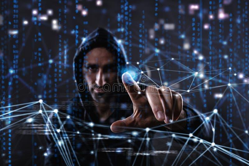 Hacker czytelnicza informacja osobista Pojęcie prywatność i ochrona obraz royalty free