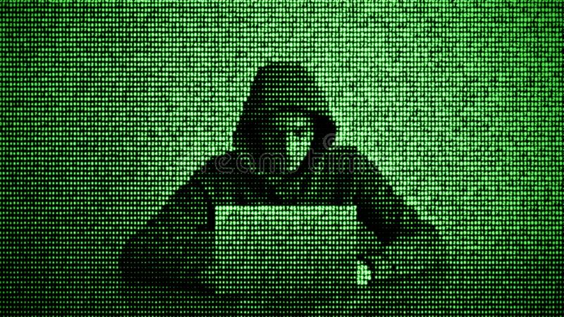 Hacker in data security concept. Hacker using laptop. Hacking the Internet. Cyber attack. Hacker in data security concept. Hacker using laptop. Hacking the vector illustration