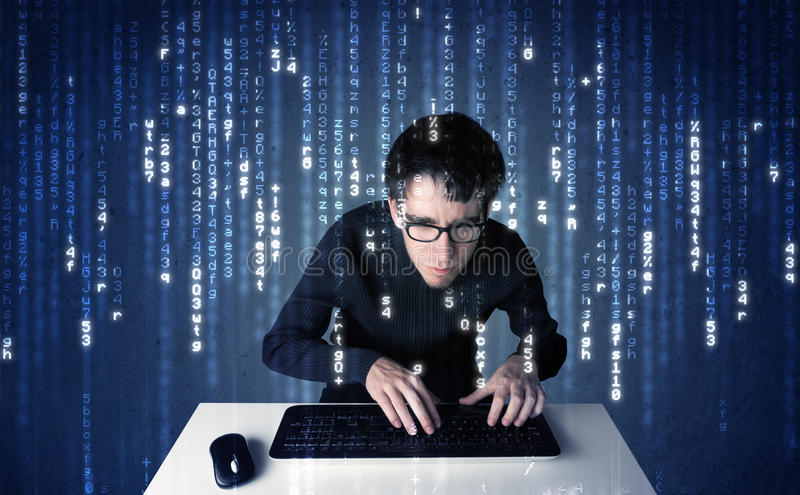 Hacker decoding information from futuristic network technology. With white symbols royalty free stock photography
