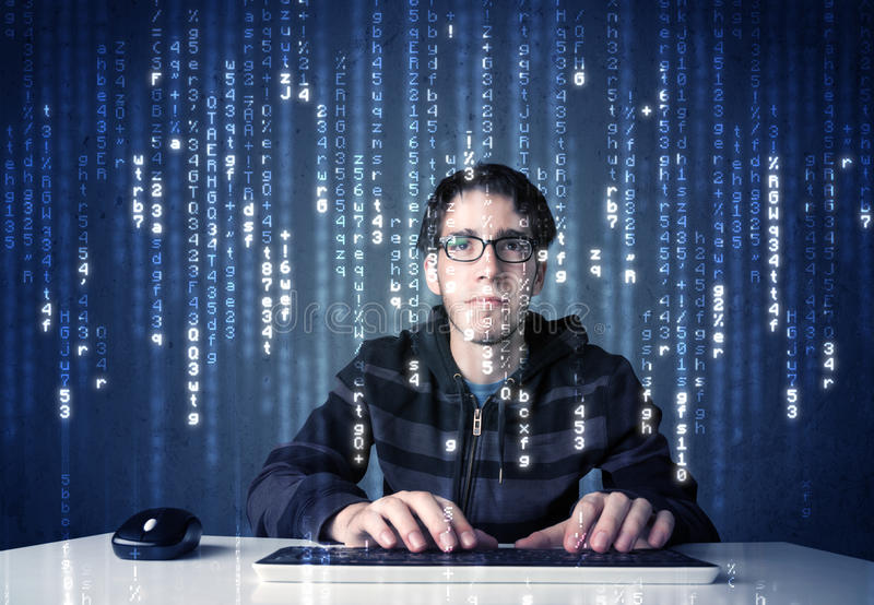 Hacker decoding information. From futuristic network technology with white symbols royalty free stock photos