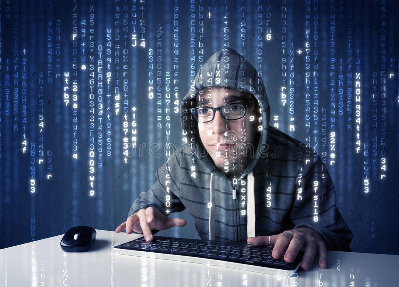 Hacker decoding information from futuristic network technology. With white symbols stock image