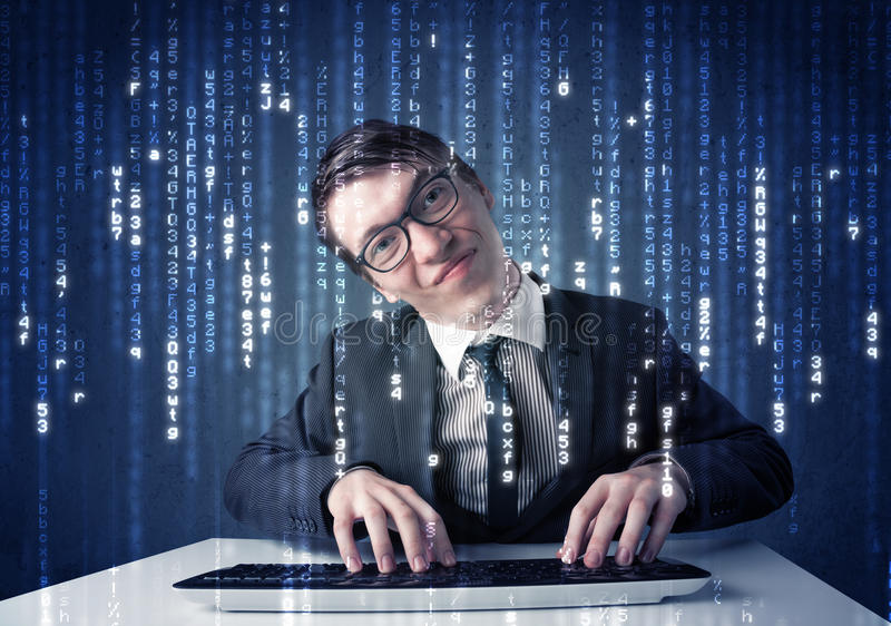 Hacker decoding information from futuristic network technology. With white symbols stock photography