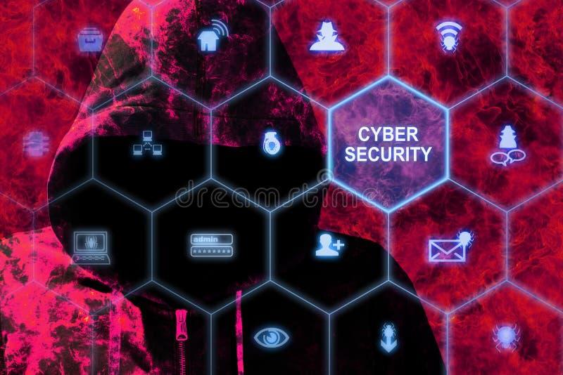 Hacker in den Flammen hinter einem cybersecurity Gitter lizenzfreie abbildung