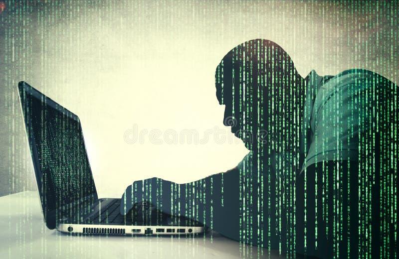 Hacker in der Aktion lizenzfreie abbildung
